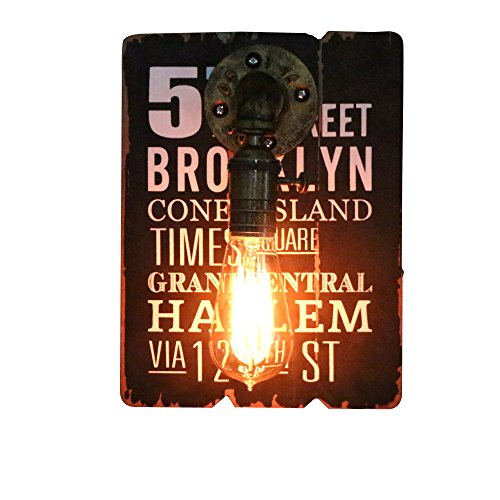 Kiven Wall Sconces With Switch Vintage Edison wall light fixture Retro Antique Wall Lamp Decorative Rustic Fixtures Art-loft Wall Decor Paintings on Wooden Sign