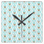 Cupcakes Beautiful Country Rustic Baby Infant Gift Square Wall Clock
