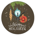 Happy Holidays Christmas Ornaments Decorative Large Clock