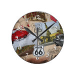 Route 66 Pattern Round Clock