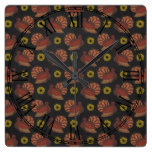 Thanksgiving Autumn Turkey Chalkboard Pattern Square Wall Clock