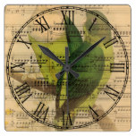 Victorian Music Sheet Watercolor Bird Wallpaper Square Wall Clock