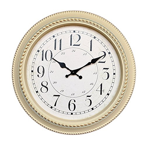 Foxtop 16-inch Ultra-quiet Electronic Wall Clock Classic European-style Round Plastic Wall Clocks Decorative Home Office Merchandise Gifts (Creamy-white)