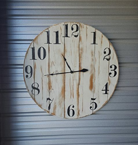 """18in """"Shannon"""" reclaimed wood wall clock, fixer upper style clock, farmhouse wall clock with distressed white finish and black roman numerals."""