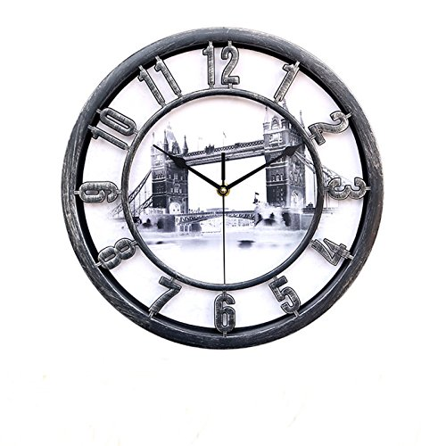 Creative clock – Foxtop World-renowned Architecture Background for Dial / Modern and Stylish 12.5-inch Round Retro Vintage Rustic Wall Clocks Home Decoration (Silver – London Bridge)