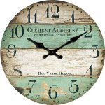 Yung Jo 12″ Vintage Rustic Shabby Chic Style ,Green Stripes Arabic Numerals Design Wooden Round Decorative Wall Clock (Green Strips)