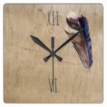 Blue Brown Watercolor Feather on Wood Square Wall Clock