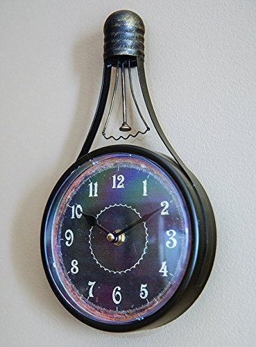 Vintage Metal Light Bulb Wall Clock