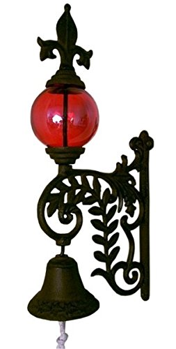 VoojoStore Cast Iron Bell W RED Glass Gazing Ball – Perfect Gift For Men Women Couples Grandpa Father Mother Engagement Wedding Anniversary Christmas Birthday Him Her Sister Wife Husband