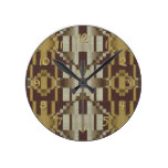 Khaki Beige Brown Ochre Yellow Mosaic Pattern Round Clock