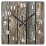 Rustic Vintage Anchor on authentic looking wood Square Wall Clock