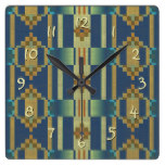 Teal Blue Green Orange Ochre Yellow Mosaic Pattern Square Wall Clock