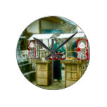 The Sake Seller in Old Rustic Japan Vintage Round Clock