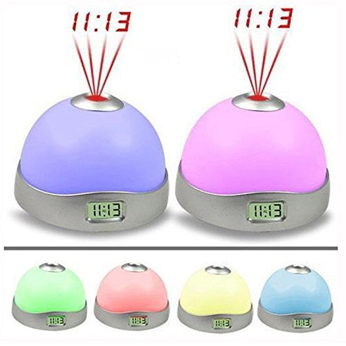 Starry Digital Magic Led Projection Alarm Clock Night Light Color Changing^.