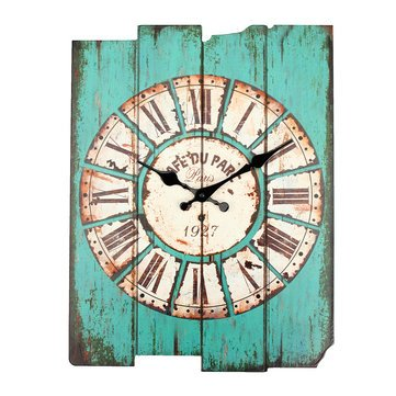 Zakka Vintage Rustic Wooden Wall Clock Shabby Home Room Cafe Bar Wall Decor Blue^.