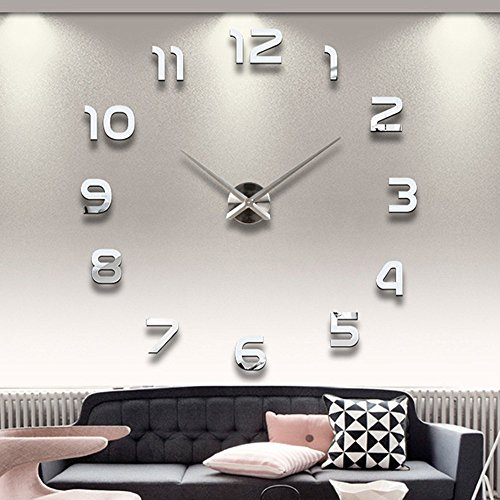 2015 New Arrival 3D Home Decor Quartz Diy Wall Clock Clocks Horloge Watch Living Room Metal Acrylic Mirror 39 Inch^.