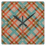 Coral Red Turquoise Diamond Argyle Plaid Pattern Square Wall Clock