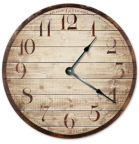 Unique Clock Large 10.5″ Wall Clock Decorative Round Wall Clock Home Decor PRINTED WOOD WEATHERED LOOKING CLOCK