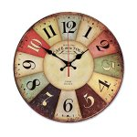 Wood Wall Clocks,Sanmersen Vintage Colorful France Paris French Country Tuscan Retro Style Arabic Numerals Decorative Round Wood Clock Non-Ticking Silent Design,14-Inches