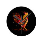 Fire rooster. Flaming animal sparkle cool design Round Clock