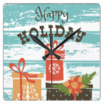Happy Holiday Christmas Holiday Presents Square Wall Clock