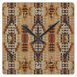 Khaki Beige Taupe Brown Eclectic Ethnic Look Square Wall Clock