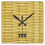 Monogram Series: Light Rustic Seagrass Basketweave Square Wall Clock