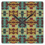 Orange Teal Turquoise Red Tribal Mosaic Pattern Square Wall Clock