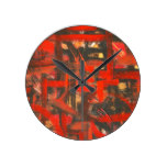 Rustic Red-Hand Painted Abstract Brushstrokes Round Clock