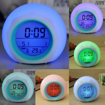 Digital Led 7 Color Changing Alarm Clock Thermometer Nature Sound^.