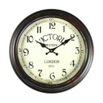 "Adeco 14″~15″ Black and Brown Antique-Look Dial Decorative Vintage Retro Traditional Wall Hanging ""Victoria Station"" Circle Iron Clock, Arabic Arab Numerals Numbers, Silent Battery Quartz, Home Office Decor"