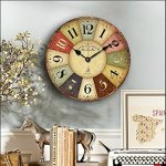 Vintage Rustic Wall Clock, Eruner 16″ French Paris Style *Cafe De La Tour* London Country Non-Ticking Wooden Clock Dial Timer for Home Livingroom Bedroom Office Cafe Bar Decor(16″, #01)