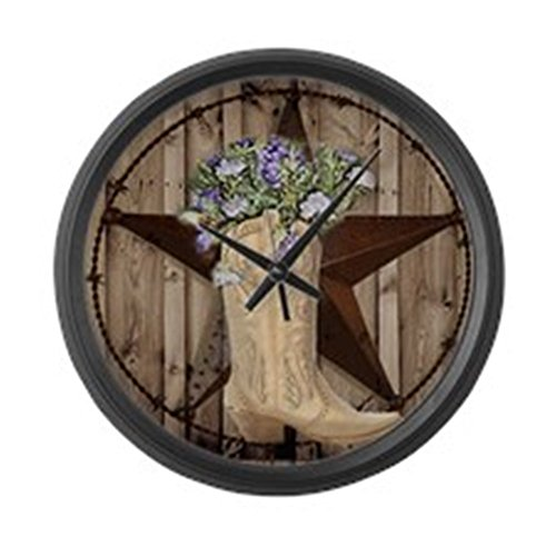 CafePress – Cowboy Boots Western Country Barn Wood Large Wall – Large 17″ Round Wall Clock, Unique Decorative Clock
