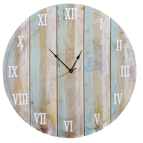 Antique Weathered Vintage Wall Clock | Hand Crafted Decor | Nagina International by Nagina International (30 Inches)
