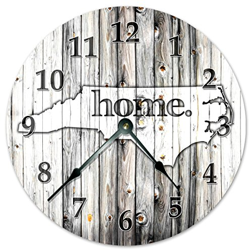 NORTH CAROLINA STATE HOME CLOCK Black and White Rustic Clock – Large 10.5″ Wall Clock