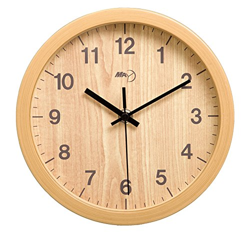 Maytime Indoor Faux Wooden Frame Simple Modern Silent Sweep Movement Round Wall Clock for Office Dinning Room 12 Inches Woodcolor