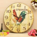 Vintage Wall Clock Retro Zakka Rustic Art Shabby Wooden Clock Home Office Cafe Bar Wall Decoration 30Cm^.