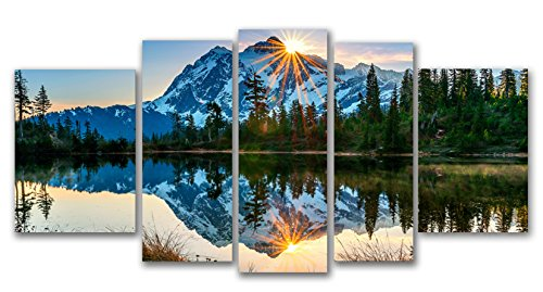 Startonight Glass Wall Art Acrylic Decor Set Mirror of the Mountains, 5 Stars Gift and a Contemporary Clock Set of 5 Total 35.43 X 70.87 Inch 100% Original Artwork the Ultimate Wall Art!