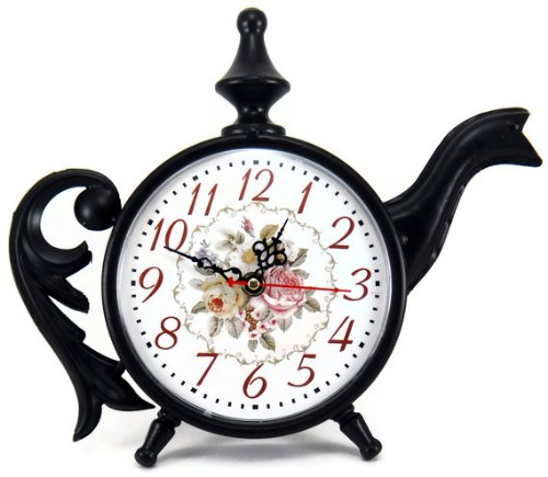 Black Tea Kettle Shaped Victorian Roses Shelf Clock, Metal