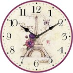 Yung Jo 12″ Vintage Rustic French Country Style,Romantic Eiffel Tower,Flower Pattern , Arabic Numerals Design Wooden Round Decorative Wall Clock (Romantic Eiffel)
