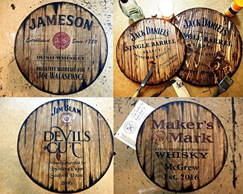 Personalized decorative sign – whiskey barrel top, Rustic wall decor| Gifts for Men| Business Gift| Gifts for Dad| Hand-painted liquor artwork and your message on a distressed wood plaque