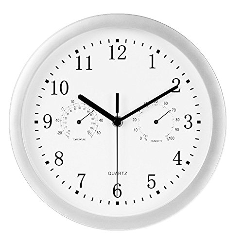 Foxtop 10-inch Indoor/Outdoor Wall Clock – Weather Monitoring Clock – Universal Quartz Non-Ticking & Silent Glass Cover (Silver)