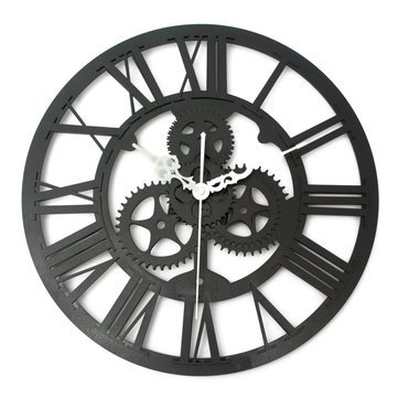 Vintage Wall Clock Rustic Art Big Gear Wooden Handmade Home Bar Cafe Decor Gift 32Cm^.