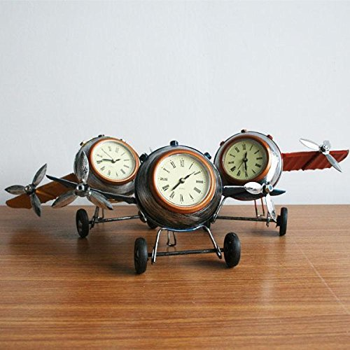 Dalakin Retro Shabby Metal Clock Airplane Plane Home Desk Table Clock Ornament 3 ColourBlue