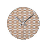 Rustic Beige and Gray Diamond Shape Pattern Round Clock