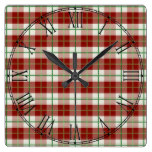 Rustic Country Christmas Holiday Tartan Plaid Square Wall Clock