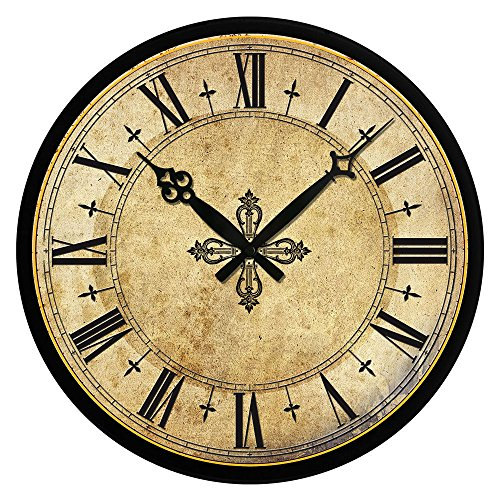 Muktat_ Vintage Wooden Wall Clock Large Shabby Chic Rustic Kitchen Home Antique Style
