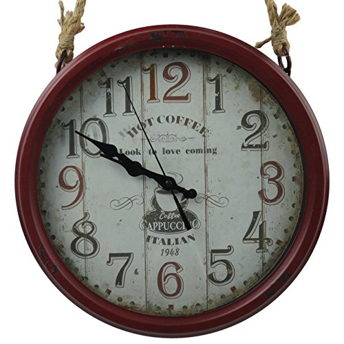 14″ Retro Distressed Iron Hanging Rustic Red Wall Clock