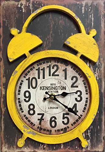 Manual Yellow Distressed Wood Vintage Double Bell Look Mantel Desk Clock IOCLCY 9×13″