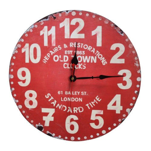 Juenana 34cm Rustic Shabby Wood Chic Silent Sweep Wall Clock Vintage Old Town Clock Red